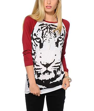 Empyre Sawyer Tiger Print Baseball Tee