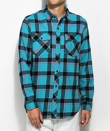 Empyre Sean camisa de franela en verde azulado, rosa y negro
