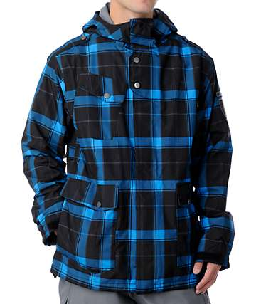 Empyre Seige Black & Blue Plaid Snowboard Jacket