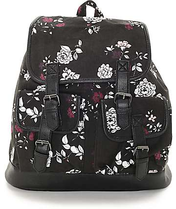 Empyre Serene Black Floral Rucksack Backpack
