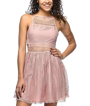Empyre Sheeta Mauve Mesh Skater Dress