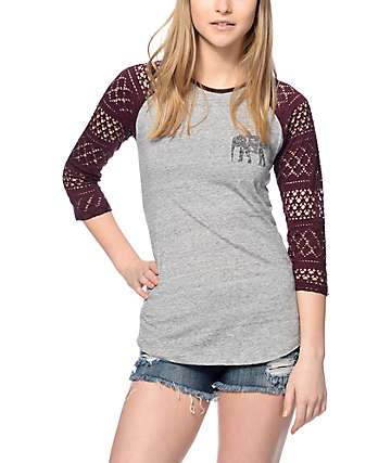 Empyre Sheffield Blackberry & Grey Baseball T-Shirt