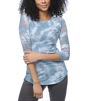 Empyre Sheffield Good Vibes Blue Tie Dye Baseball T-Shirt