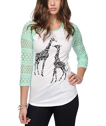 Empyre Sheffield Tribal Giraffe Eyelet Baseball Tee