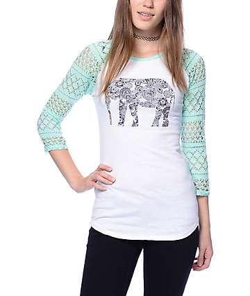 Empyre Sheffield White & Mint Elephant Baseball T-Shirt