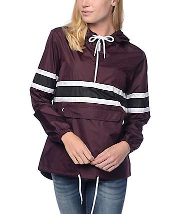 Empyre Shiloh Burgundy & Black Stripe Packable Windbreaker