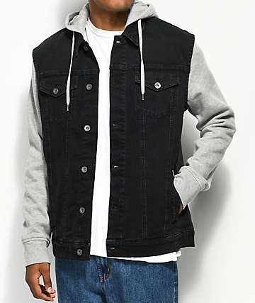 Empyre Sidecar Black Denim & Grey Knit Vest Hoodie