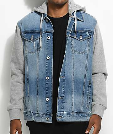 Empyre Sidecar chaqueta de mezclilla azul y vellón gris