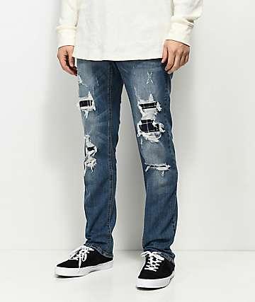 Empyre Skeletor Adams jeans rasgados y parcheados
