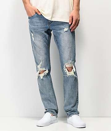 Empyre Skeletor skinny jeans rotos en azul mediano