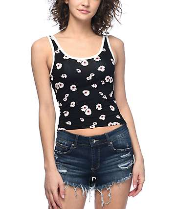 Empyre Smith Floral Black Crop Tank Top