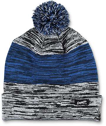 Empyre Space Cadet Blue & Grey Pom Beanie