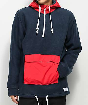 Empyre Sport Navy & Red Anorak Fleece Jacket