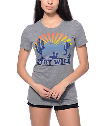 Empyre Stay Wild Grey Crew Neck T-Shirt