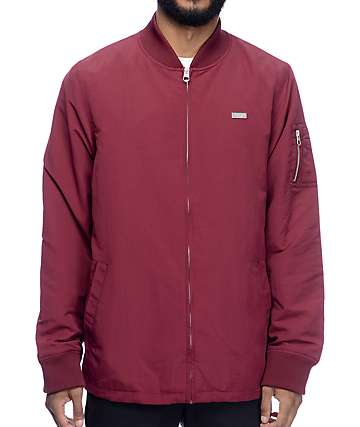 Empyre Stealth Burgundy Nylon Bomber Jacket