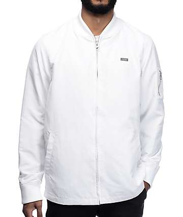 Empyre Stealth White Nylon Bomber Jacket