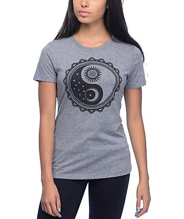 Empyre Sun And Moon Yin Yang Grey T-Shirt