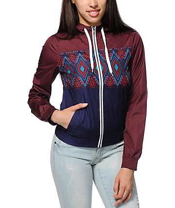 Empyre Sutton Burgundy & Navy Tribal Windbreaker Jacket