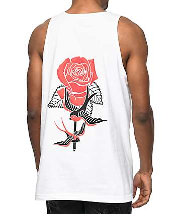 Empyre Swallows And Roses White Tank Top