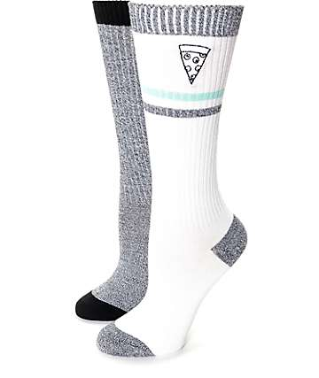 Empyre Sweater Knit Grey, White, Black & Mint Boot Socks 2 Pack