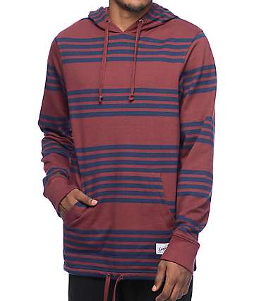 Empyre Switchback Burgundy & Navy Striped Hoodie