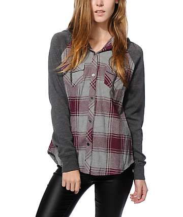 Empyre Sycamore Blackberry & Charcoal Hooded Flannel Shirt