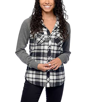 Empyre Sycamore Grey Plaid Hooded Flannel