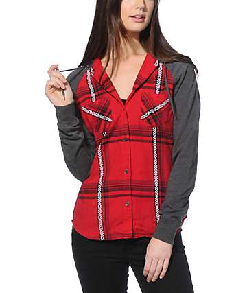 Empyre Sycamore Red Jacquard Hooded Flannel Shirt