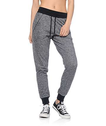 Empyre Sylvie Exposed Zipper Black Speckle Jogger Pants