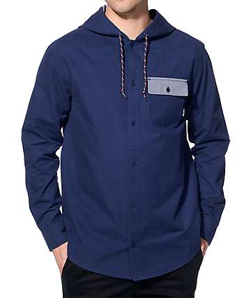 Empyre Tanner Navy Hooded Long Sleeve Button Up Shirt