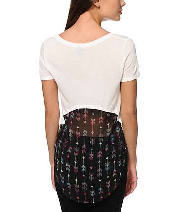 Empyre Tawny Arrow Print Chiffon Back Top