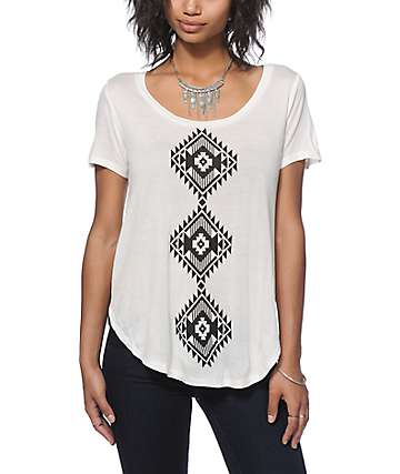 Empyre Tawny Placed Tribal Chiffon Back Top