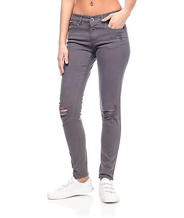 Empyre Tessa Charcoal Destroyed Skinny Jeans