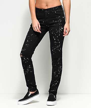 Empyre Tessa jeans desgastados en negro con salpicadura de lejía