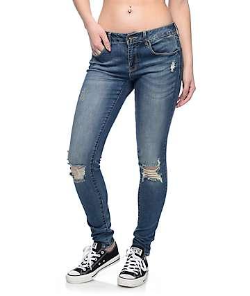 Empyre Tessa pantalones ceñidos estropeados en azul medio