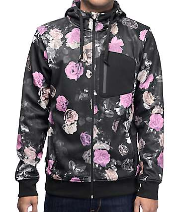 Empyre The Riot Floral & Black Tech Fleece Zip Up Hoodie
