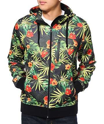 Empyre The Riot Green Tropical Hooded Tech Fleece Jacket