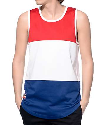 Empyre Three Days Red, White, and Navy Block Tank Top