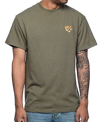 Empyre Tiger Embroidery Olive T-Shirt