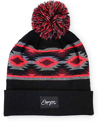 Empyre Top Knot Black, Red, & Grey Pom Beanie