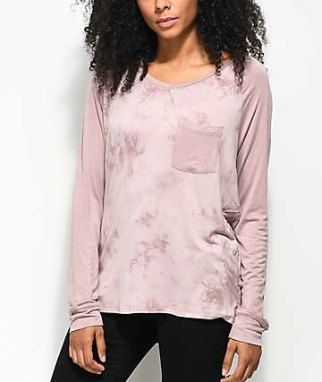 Empyre Topanga Mauve Tie Dye Long Sleeve V-Neck T-Shirt