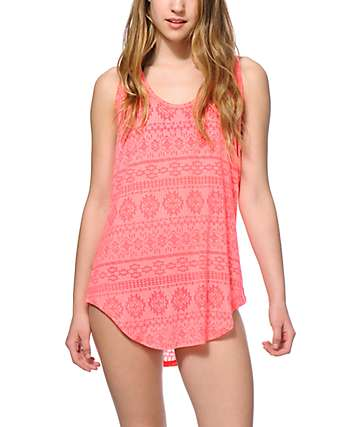 Empyre Torrance Coral Burnout Tribal Tank Dress