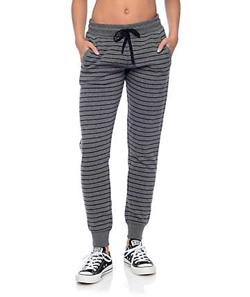 Empyre Torrin Black & Charcoal Stripe Jogger Pants