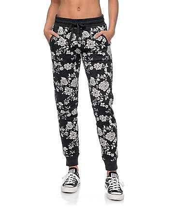 Empyre Torrin Black & Cream Floral Jogger Pants