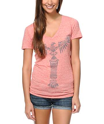Empyre Totem Heather Coral V-Neck T-Shirt
