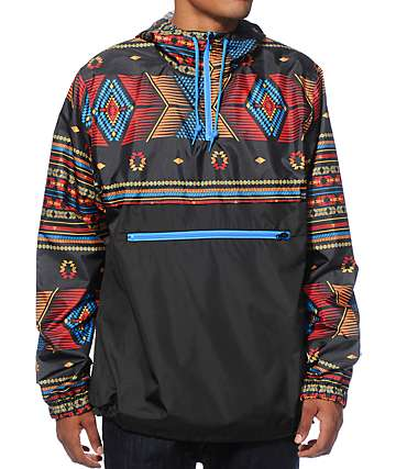 Empyre Transparent Black & Blue Tribal Anorak Jacket