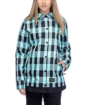 Empyre Traverse chaqueta de snowboard en tartán azul y negro