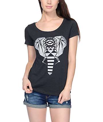 Empyre Tribal Elephant Scoop Black T-Shirt