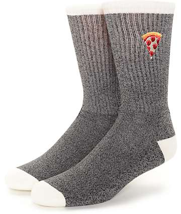 Empyre Tricks Pizza Embroidery Black Crew Socks