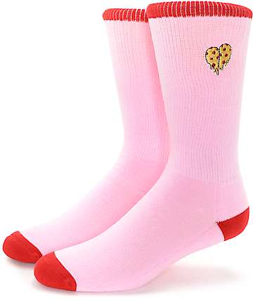 Empyre Tricks Pizza Heart Pink Crew Socks